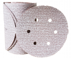 "Sanding Disc 6"" Diameter 6 Hole Pattern PSA Sticky Back Premier Red Aluminum Oxide 150 Grit Carborundum 15313"