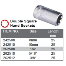 "1/4""dr 1/4"" Double Square Sockets 8pt"