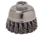"Wire Cup Brush 2-3/4"" Diameter 5/8-11 Arbour Hole .014 Gauge Knotted"