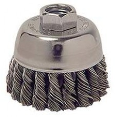 "Wire Cup Brush 2-3/4"" Diameter M14x2.0 Arbour Hole .014 Gauge Knotted"