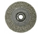 "Wire Wheel 4"" Diameter x 1/2"" Wide with 5/8-11 Arbour Hole .014"" Gauge Narrow Face Crimped (Stainless Steel)"