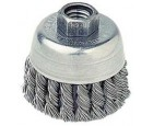 "Wire Cup Brush 2-3/4"" Diameter 5/8-11 Arbour Hole .020 Gauge Single Row Knotted"