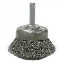 "Wire Cup Brushes 1-3/4"" Diameter 1/4"" Shank .006 Gauge Crimped Wire Brushes - Hand & Mandrel Mount"