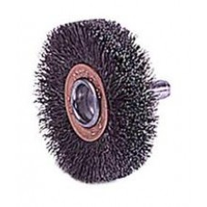 "Wire Wheel 2"" Diameter x 3/8"" Wide with 1/4"" Shank .0118 Gauge Crimped Wire Wheels"
