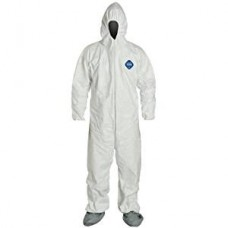 Tyvek 400 Coverall XL - Hooded - Boots - Elastic Wrists Disposable Protective Clothing