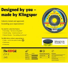 "Cut Off Type 27 (Depressed Center) 5 x .045 The Edge for Steel & Stainless Steel 2-in-1 Klingspor 317821 5"" Cut Off Wheels"