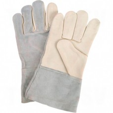 Standard Quality Grain Cowhide Leather Gloves Large Unlined Grain Cowhide Gauntlet Leather     Leather Gloves