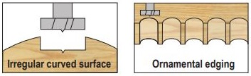 Forstner bits for irregular cured surfaces and ornamental edging holes in wood.